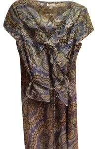 Blue, Green, Yellow, White Paisley Maxi Dress by BCBG Max Azria