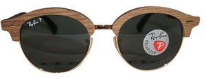 Ray-Ban New RAY BAN CLUBROUND WOOD Brown Gold G15 Polarized RB4246M
