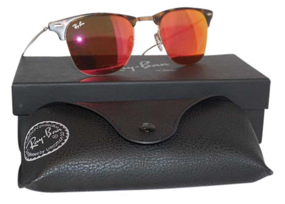 6806d799fb Ray-Ban Light Ray Havana Brown New Clubmaster Red Mirror Rb8056 Sunglasses