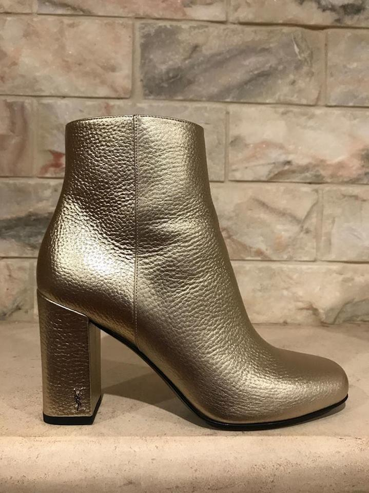 a9cb689ae94 Saint Laurent Gold Ysl Yves Babies 90 Chelsea Block Heel Ankle Boots ...