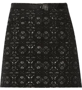 Maje Mini Fall Jacquard Metallic Mini Skirt Black and silver