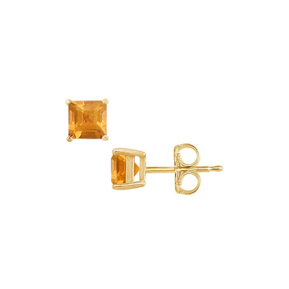 mm citrine earrings gold yellow cut princess stud in x