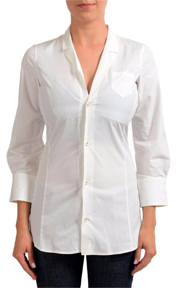 851f51d9a8b86 Dsquared2 White 3 4 Sleeve Women s Shirt Button-down Top Size 4 (S ...
