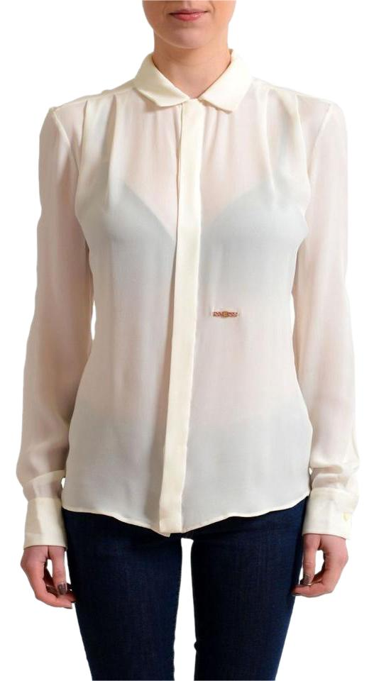 best service world-wide selection of good reputation Dsquared2 Cream White Silk Long Sleeves Blouse Shirt Button-down Top Size 4  (S) 76% off retail
