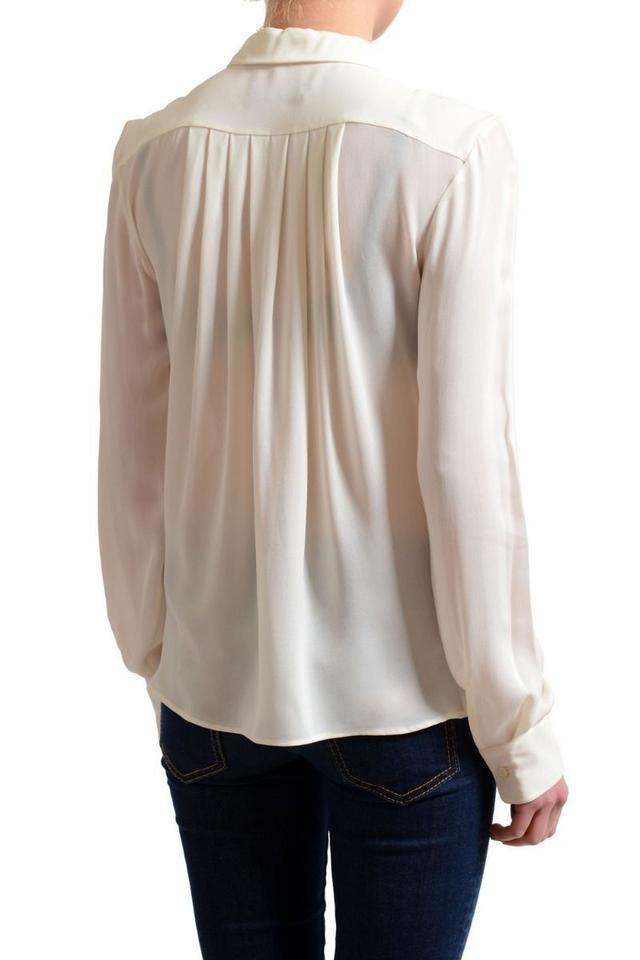 dfdde943 Dsquared2 Cream White Silk Long Sleeves Blouse Shirt Button-down Top ...
