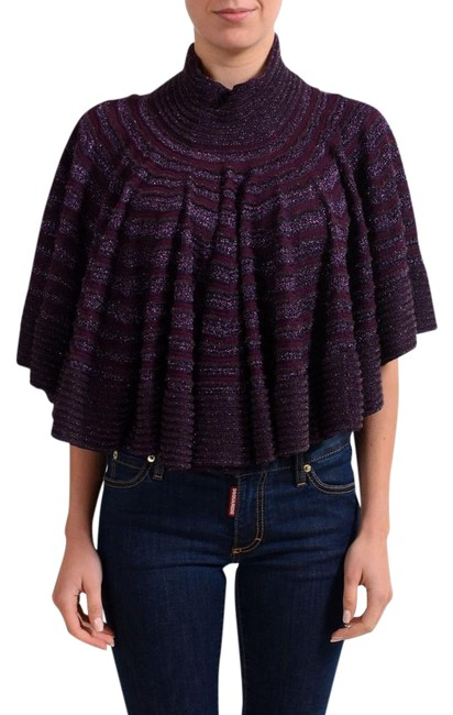 Item - Sparkling Purple Knitted Women's Turtleneck Sweater Poncho/Cape Size 2 (XS)