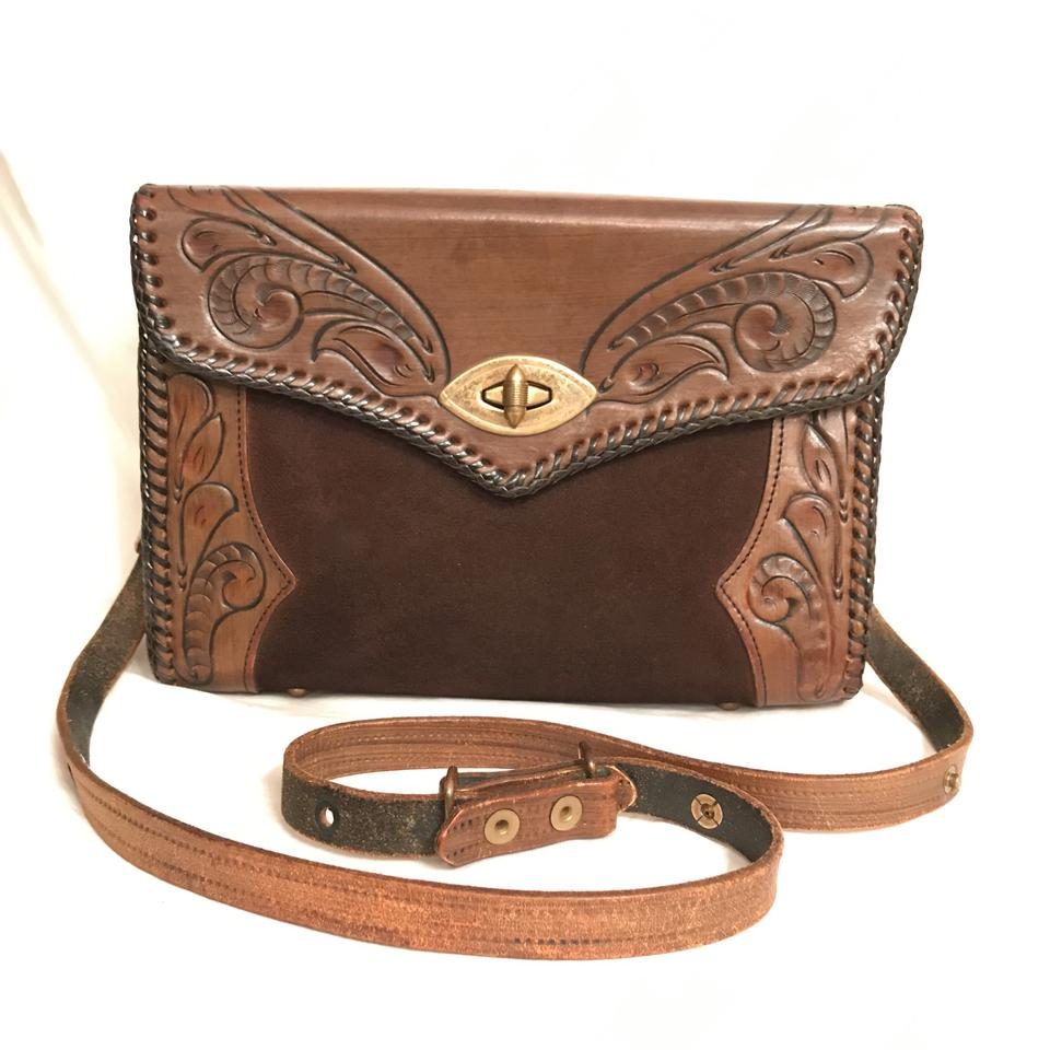 Jo O Kay Vintage Tooled Leather Western Purse Handbag Cross Body Bag