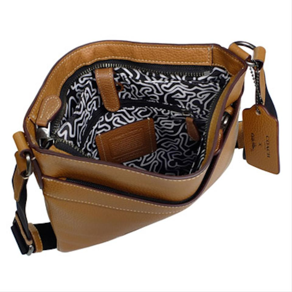 Coach Ltd Edition Keith Haring Charles Caramel Leather Cross Body Ampamp Mini Messenger 1234