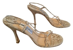 Jimmy Choo Strappy ADDITIONAL $20 OFF White and tan all leather snake pattern slingback Italian E36 Sandals