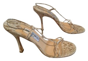 Jimmy Choo Strappy White and tan all leather snake pattern slingback Italian E36 Sandals