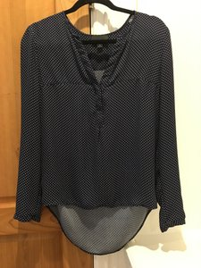 Lumiere Fall Boutique Cute Top Polks Dot Navy