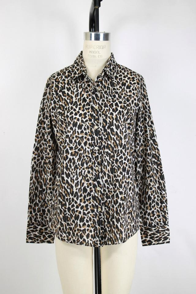713eed5b J.Crew Multi-color Perfect Shirt Leopard Print Button-down Top Size ...