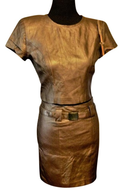 Item - Bronze Metallic 2 Piece Leather Shell Crop Top and Pencil Skirt Suit Size 4 (S)