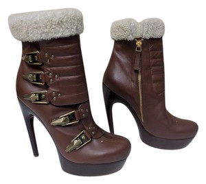 8e3b2dae2d60 Alexander McQueen Platform Leather Shearling Lined Ski Buckles Brown Boots