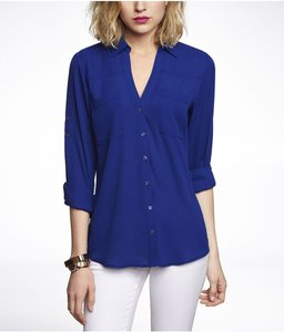 Express Button Up Office Top Royal Blue
