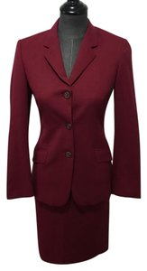 Piazza Sempione deep red stunning stretch wool skirt suit