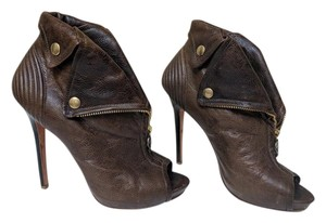 Alexander McQueen Iconic Leather Skull Brown Boots