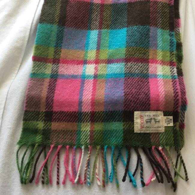 Item - Pink Green Multi Pure Irish Wool Scarf/Wrap