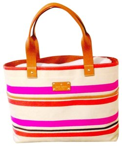 Kate Spade Oak Large Leather Handle Tote in Island Stripe