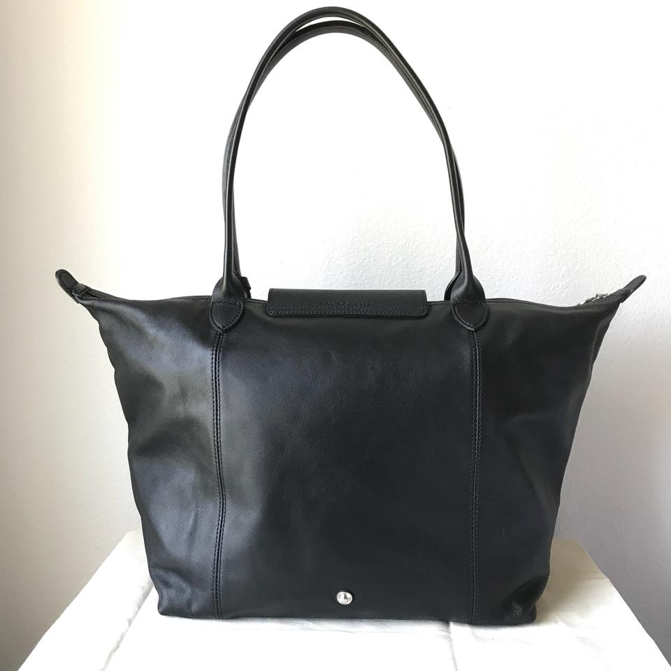 Longchamp Limited Edition Le Pliage Cuir Large Shoulder Black Leather Tote  - Tradesy 97dbb9c3b8781