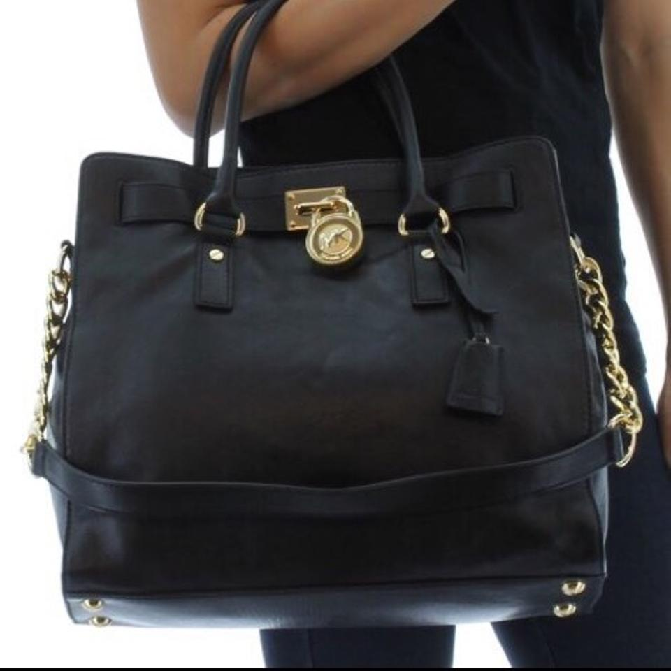 043ac258fbfead Michael Kors Large Hamilton Chain Black Leather Tote - Tradesy
