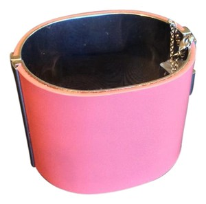 Céline CELINE CUFF BRACELET, GLAZED LEATHER WITH METAL ACCENTS