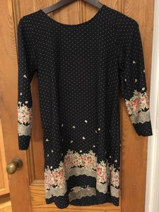 Sage short dress Navy with Floral & Polka Dots Print Long Sleeve Fall 2017 Boutique on Tradesy