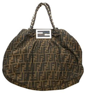 Fendi Monogram Canvas Gold Hardware Logo Patent Leather Satchel in Brown