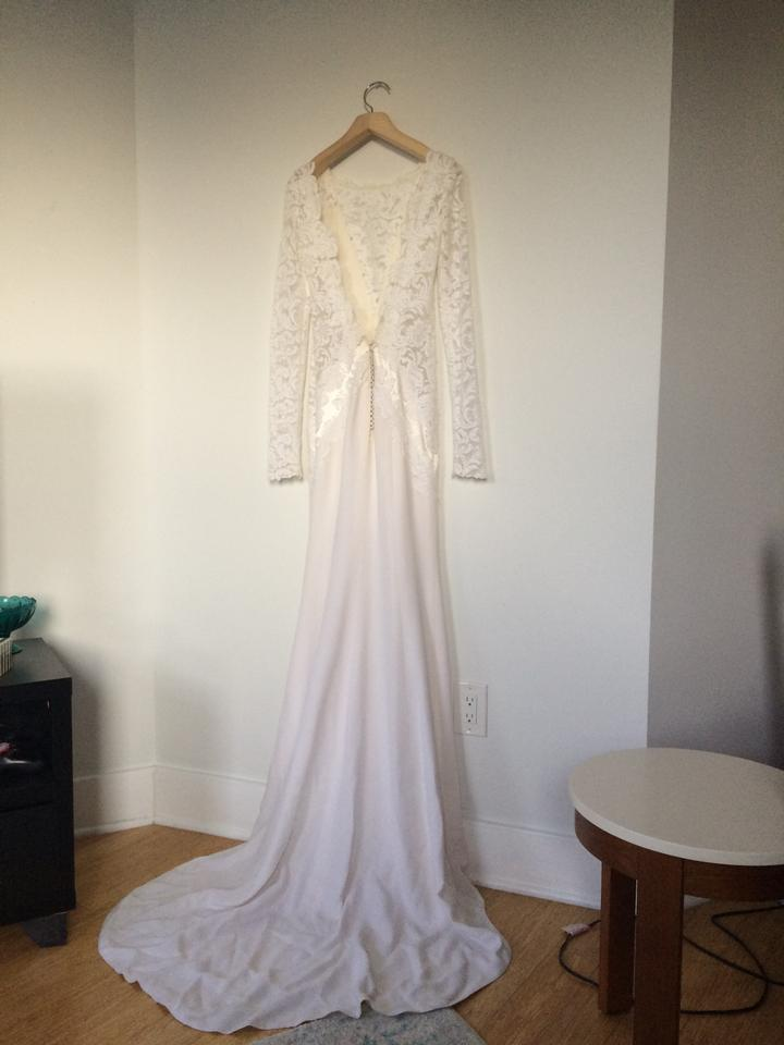 J. Mendel Ivory Silk The Vivian Modest Wedding Dress Size 0 (XS ...