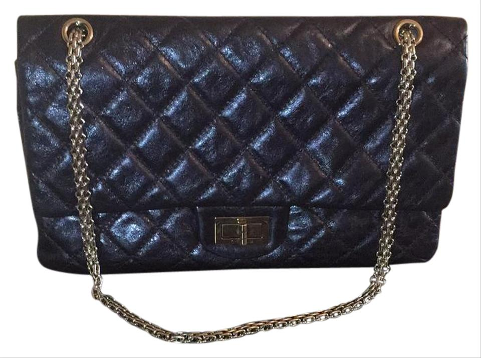 e7ba7d301ce4 Chanel 2.55 Reissue Large Metallic Navy Blue Aged Calfskin Leather ...