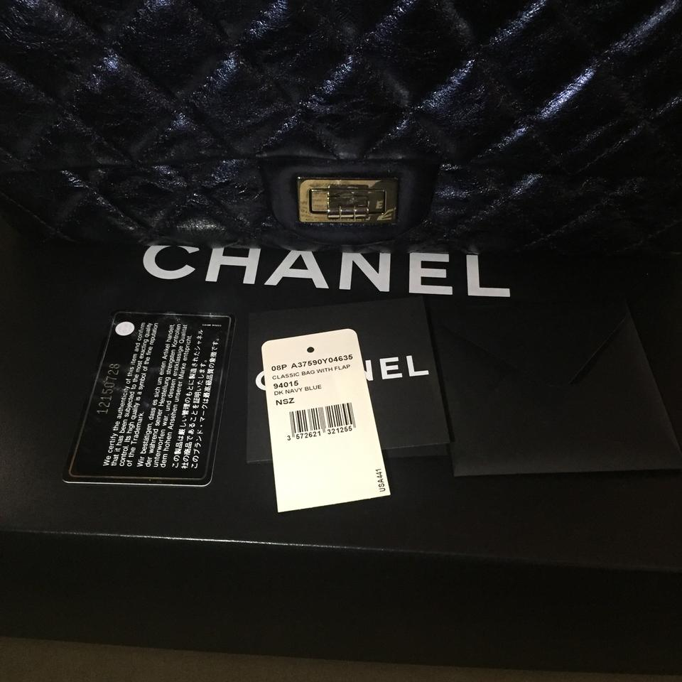 32cffbba26ce Chanel 2.55 Reissue Large Metallic Navy Blue Aged Calfskin Leather ...