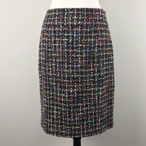 Magaschoni Wool Tweed Pencil Skirt Black Multi