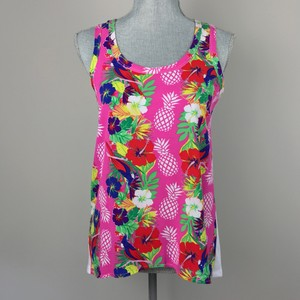 Macbeth Collection Tropical Print Floral Hawaiian Top Pink Multi