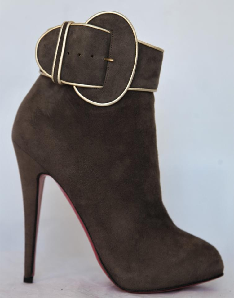 Christian Louboutin Brown Trottinette Platform High Heel Zip Suede Lady Fashion Toe Pump Suede Zip Ankle Boots/Booties d17657