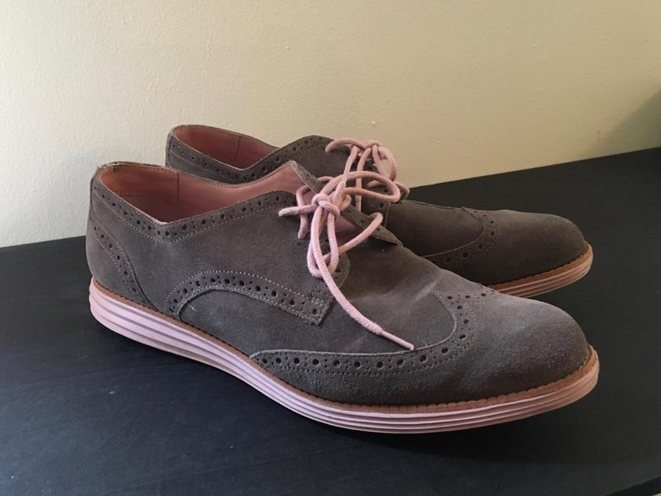 separation shoes 20b30 0b953 Cole Haan Grey and Pink Lunargrand Wingtip Oxford Flats