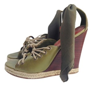 Yves Saint Laurent Leather Sandals Ysl Moss Green Platforms