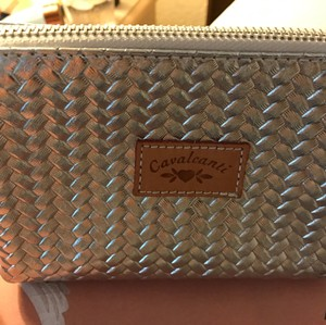 Cavalcanti Silver Leather Cosmetic Bag