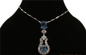 18K Over Sterling Silver Blue Stones and CZ Pendant