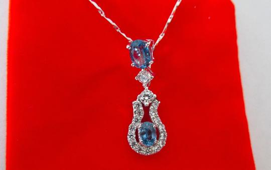 Other 18K Over Sterling Silver Blue Stones and CZ Pendant