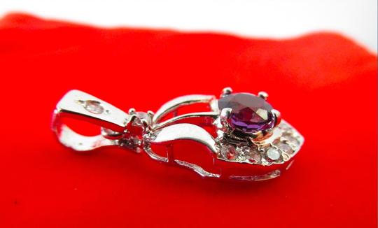 Other 18K Over Sterling Silver CZ and Purple Stone Pendant