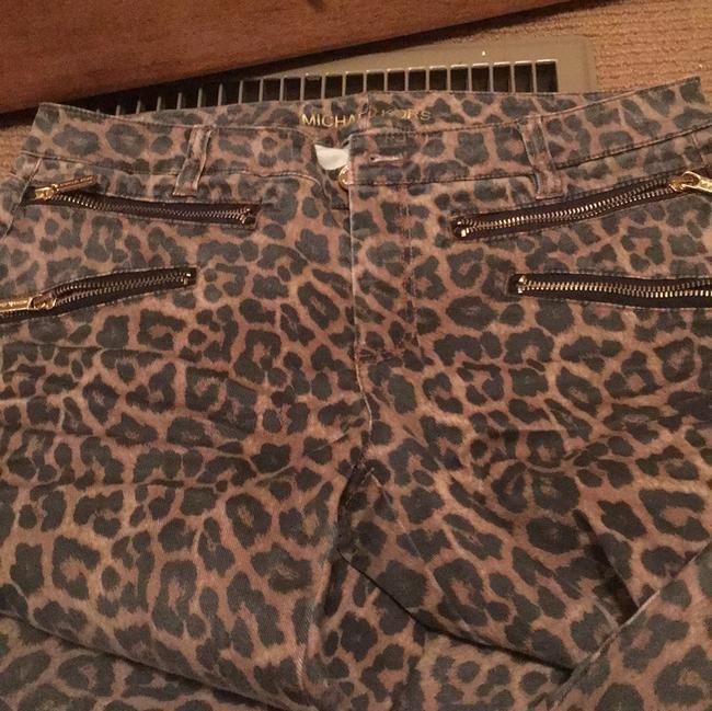 Item - Brown Leopard Print Coated Zip Up On The Ankle Cropped Straight Leg Jeans Size 29 (6, M)