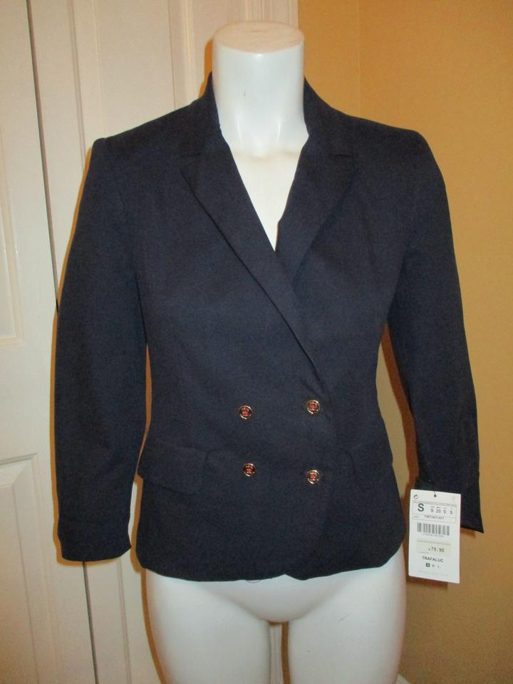 7dd432d2bf9 Zara Navy Trf Collection Double Breasted Blazer Size 2 (XS) - Tradesy