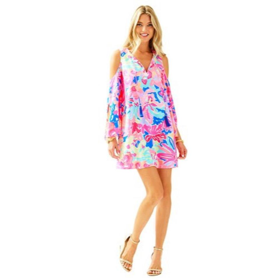 e475f96f27 Lilly Pulitzer Benicia Cold Shoulder Tunic Multi Playa Hermosa Tassel Night  Out Dress