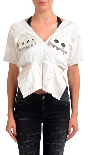 Item - White 4 Silk Coins Embellished Women's Blouse Size 8 (M)