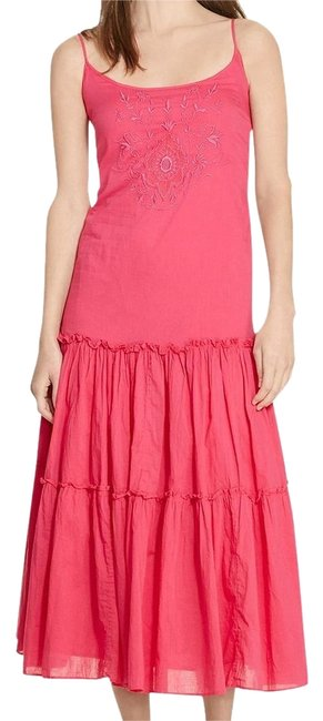 Item - Pink Cotton Voile Floral Embroidered Tiered Sleeveless Long Casual Maxi Dress Size 12 (L)