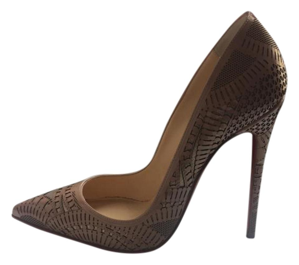 f755726604b7 Christian Louboutin Nude Kristali 120 Laser-cut Leather Red Sole Pumps