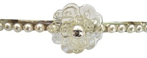 Chanel CHANEL Ex Long 11.5 Cm LUCITE PETALS CAMELLIA PEARL JEWEL Hair CLIP Pin