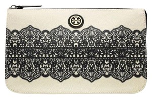 Tory Burch cream with black printed lace Clutch