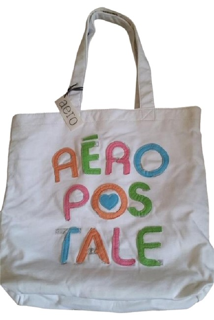 Item - Bag And Multi-colored White. Pink Blue Green Orange Fabric Tote