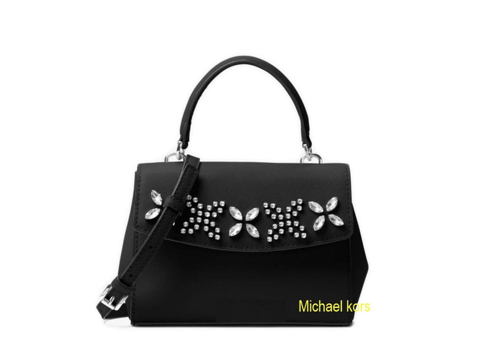ac61c4dcc52392 ... Michael Kors Ava Extra-small Crystal-embellished Black Leather Cross  Body Bag .
